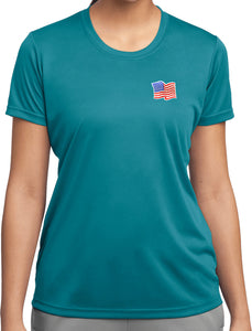 Ladies Waving USA Flag Patch Pocket Print Dry Wicking Tee