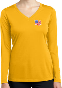 Waving USA Flag T-shirt Patch Ladies Dry Wicking Long Sleeve