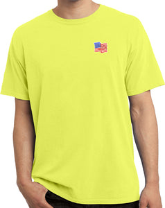 USA Patriotic T-shirt Waving Flag Patch Pocket Print Vintage Tee