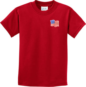 Waving USA Flag Kids T-shirt Patch Pocket Print Youth Tee