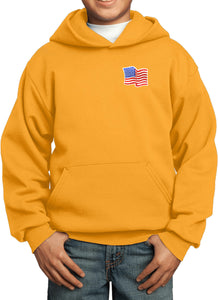 Kids Waving USA Flag Hoodie Patch Pocket Print