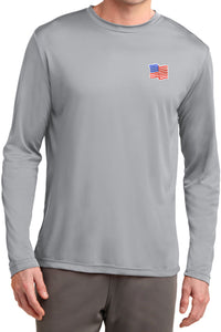USA Shirt Waving Flag Patch Pocket Print Dry Wicking Long Sleeve