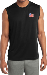 Patriotic Shirt Waving US Flag Patch Pocket Print Sleeveless Tee