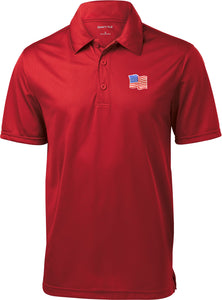 Waving USA Flag Polo Patch Pocket Print Textured Golf Shirt