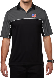 Waving USA Flag Polo Patch Pocket Print Mens Moisture Wicking Shirt