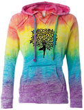 Womens Tree Pose Burnout V Hoodie