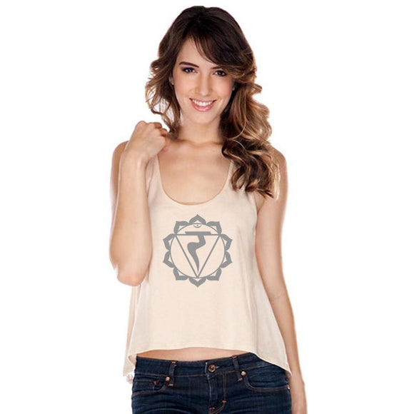 Womens Manipura Chakra Lace Back Tank Top - Yoga Clothing for You - 1