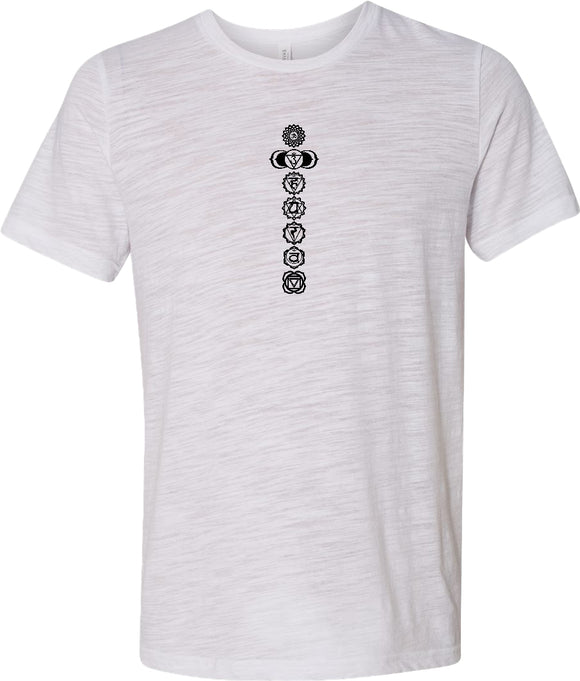 Black 7 Chakras Burnout Yoga Tee Shirt