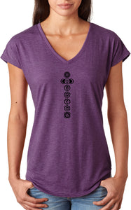 Black 7 Chakras Triblend V-neck Yoga Tee Shirt