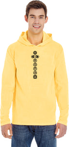 Black 7 Chakras Heavyweight Pigment Hoodie Yoga Tee Shirt