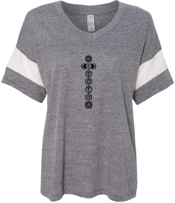 Black 7 Chakras Eco-Friendly V-neck Yoga Tee Shirt
