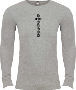 Black 7 Chakras Long Sleeve Thermal Yoga Tee Shirt