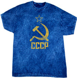 Soviet Union T-shirt Distressed CCCP Mineral Washed Tie Dye Tee