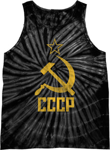 Soviet Union Tank Top Distressed CCCP Tie Dye Tanktop