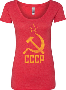 Ladies Soviet Union T-shirt Distressed CCCP Scoop Neck