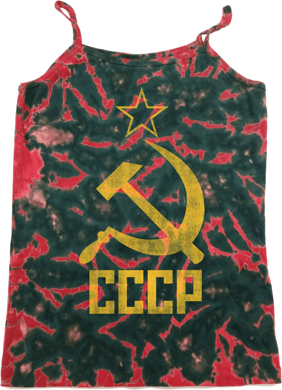 Buy Cool Shirts Ladies Soviet Union Tank Top Distressed CCCP Tie Dye Camisole