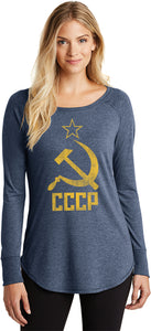 Buy Cool Shirts Ladies Soviet Union Shirt Distressed CCCP Tri Blend Long Sleeve