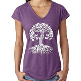 Yoga Clothing for You Women's Celtic Tree of Life V-neck Tee - Heather Aubergine - Yoga Clothing for You
