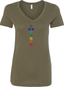 Colored Chakras Ideal V-neck Yoga Tee Shirt