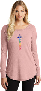 Colored Chakras Triblend Long Sleeve Tunic Yoga Shirt