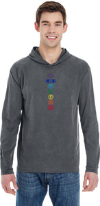 Colored Chakras Heavyweight Pigment Hoodie Yoga Tee Shirt