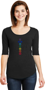 Colored Chakras Elbow Sleeve Scoopneck Yoga Tee Shirt