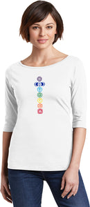 Colored Chakras 100% Cotton 3/4 Sleeve Elbow Yoga Tee