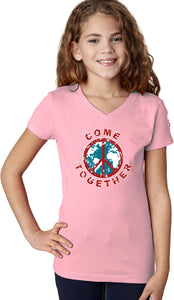 Girls Peace T-shirt Come Together V-Neck