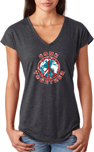 Ladies Peace T-shirt Come Together Triblend V-Neck