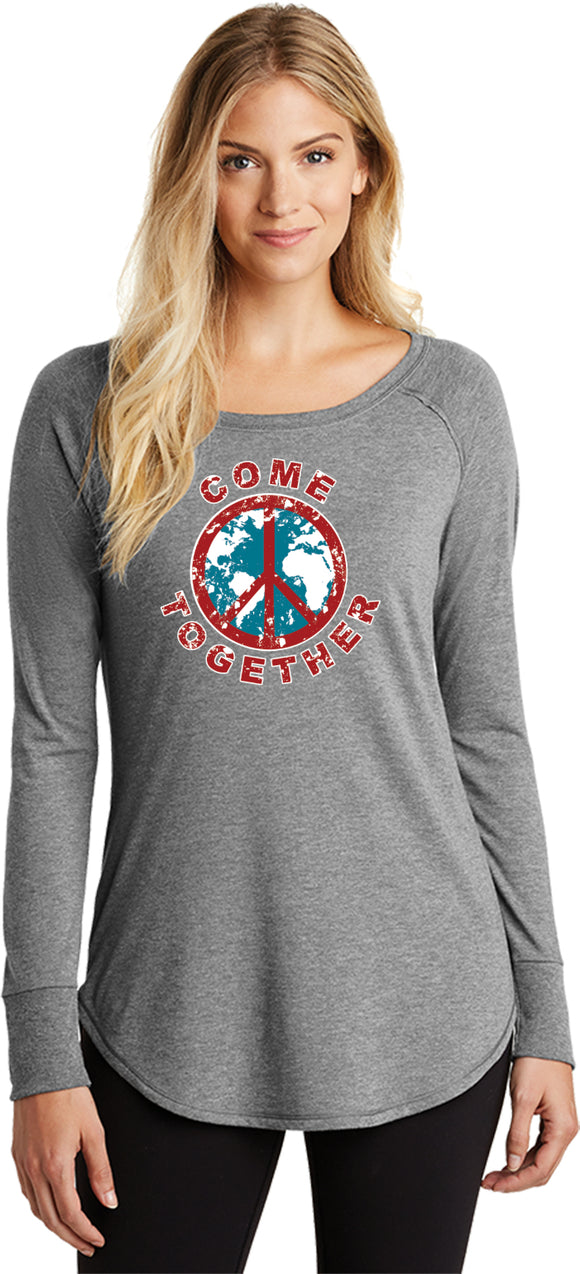 Buy Cool Shirts Ladies Peace T-shirt Come Together Tri Blend Long Sleeve