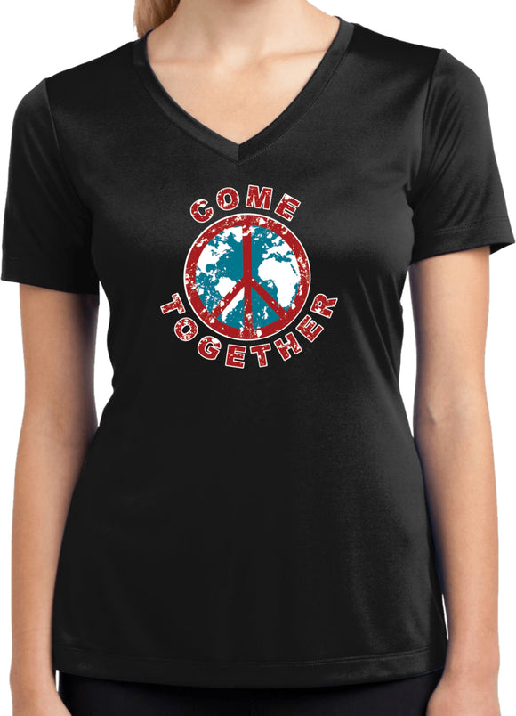 Ladies Peace T-shirt Come Together Moisture Wicking V-Neck