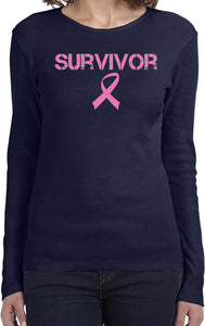 Ladies Breast Cancer T-shirt Survivor Long Sleeve