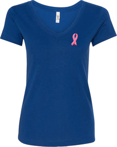 Ladies Breast Cancer Tee Embroidered Ribbon Pocket Print V-Neck