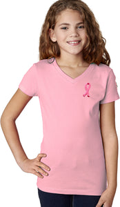 Girls Breast Cancer Tee Embroidered Ribbon Pocket Print V-Neck