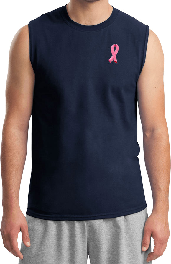 Breast Cancer T-shirt Embroidered Pink Ribbon Muscle Tee