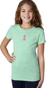 Girls Breast Cancer T-shirt Embroidered Pink Ribbon Small Print
