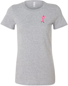 Ladies Breast Cancer Tee Embroidered Ribbon Longer Length Shirt