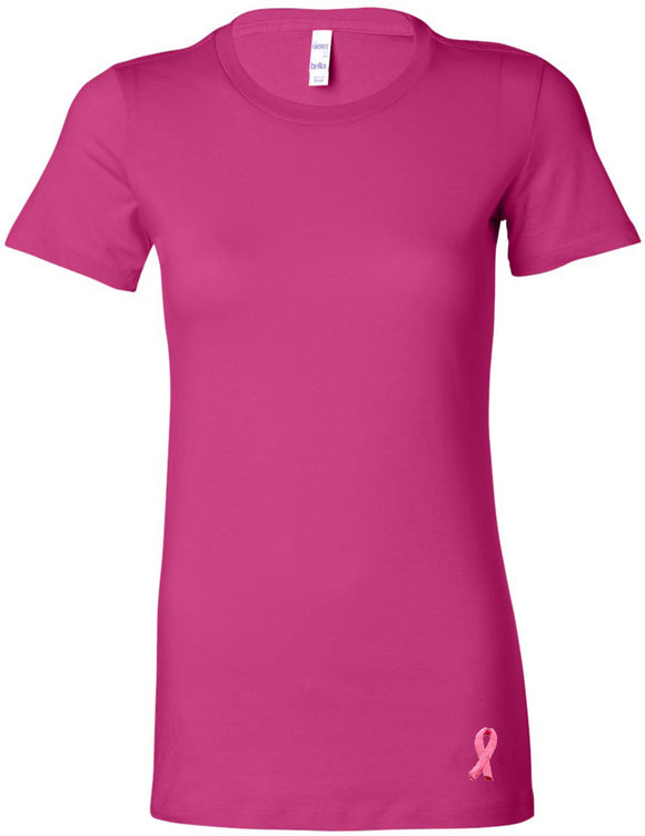 Buy Cool Shirts Breast Cancer Embroidered Ribbon Bottom Ladies Longer Length Tee