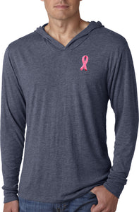 Breast Cancer T-shirt Embroidered Pink Ribbon Lightweight Hoodie