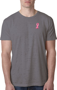 Breast Cancer T-shirt Embroidered Ribbon Pocket Print Burnout
