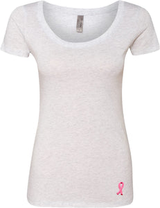 Ladies Breast Cancer Tee Embroidered Ribbon Bottom Scoop Neck