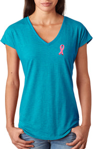 Ladies Breast Cancer Tee Embroidered Pink Ribbon Triblend V-Neck