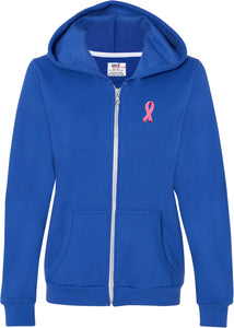 Ladies Breast Cancer Full Zip Hoodie Embroidered Pink Ribbon