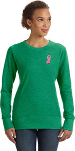 Ladies Breast Cancer Sweatshirt Embroidered Pink Ribbon