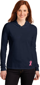 Ladies Breast Cancer Tee Embroidered Ribbon Bottom Hooded Shirt