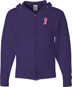 Breast Cancer Full Zip Hoodie Embroidered Ribbon Pocket Print