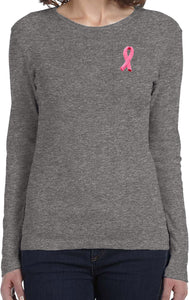 Ladies Breast Cancer T-shirt Embroidered Pink Ribbon Long Sleeve