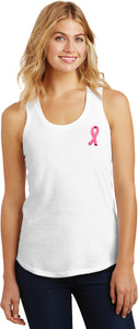 Ladies Breast Cancer Tank Top Embroidered Pink Ribbon Racerback