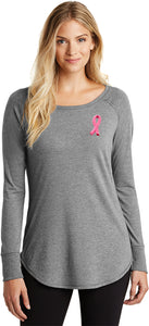 Ladies Breast Cancer Tee Embroidered Pink Ribbon Tri Long Sleeve