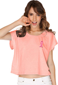 Ladies Breast Cancer T-shirt Embroidered Pink Ribbon Boxy Tee